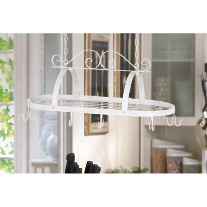 Home Kitchen Storage Ceiling Mounted Pot And Pans Lid Rack Bar Iron Shelf Hanging Holder Decorative Hooks