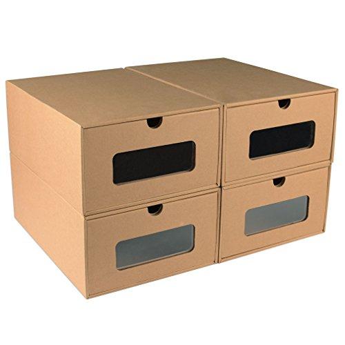 Shoe Box Transparent Drawer Stackable Storage Organizer Case - Mens Set of 4