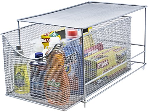Sorbus Cabinet Organizer Drawer with Cover—Mesh Storage Organizer w Pull Out Drawers—Stackable Ideal for Countertop Cabinet Pantry Under the Sink Desktop and More Silver Bottom Drawer