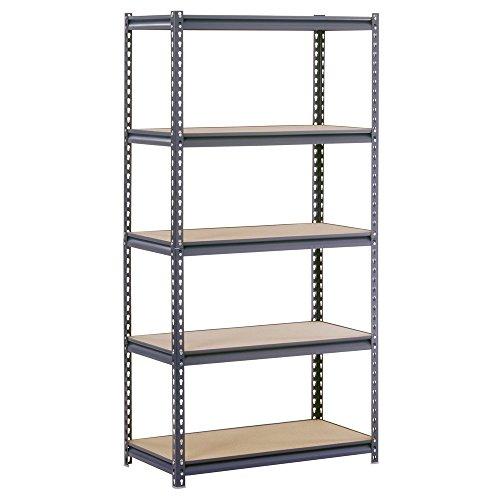 Edsal UR185P-GY Gray Steel Industrial Shelving 5 Adjustable Shelves 4000 lb Capacity 72 Height x 36 Width x 18 Depth