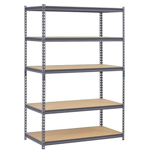 Edsal UR245P-GY Gray Steel Industrial Shelving 5 Adjustable Shelves 4000 lb Capacity 72 Height x 48 Width x 24 Depth