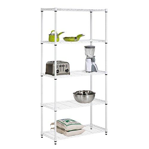 Honey-Can-Do SHF-01573 Adjustable Industrial Storage Shelving Unit 200-Pounds Per Shelf White 5-Tier 36Lx14Wx72H