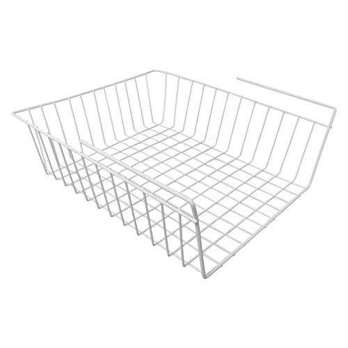 Evelots Under Shelf Basket Wire Rack White Slides Under Shelves For Storage
