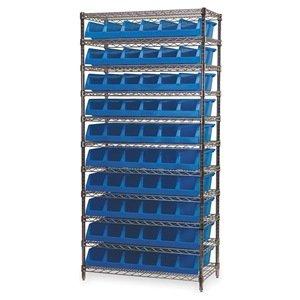 Akro-Mils 11 Shelves Wire Shelving Bin Rack Storage Unit with 10 System Bins 18Dx 36Lx 74H Chrome Blue