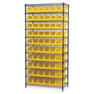 Akro-Mils 11 Shelves Wire Shelving Bin Rack Storage Unit with 10 System Bins 18Dx 36Lx 74H Chrome Yellow