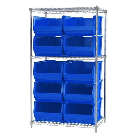 Akro-Mils 3 Shelves Wire Shelving Bin Rack Storage Unit with 10 Super-Size Akrobins 24DX 36WX 63H Chrome Blue