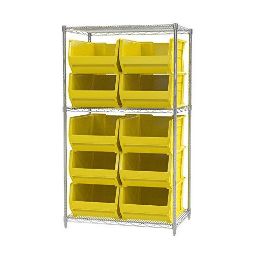 Akro-Mils 3 Shelves Wire Shelving Bin Rack Storage Unit with 10 Super-Size Akrobins 24DX 36WX 63H Chrome Yellow