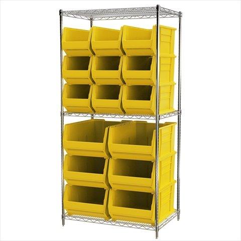 Akro-Mils 3 Shelves Wire Shelving Bin Rack Storage Unit with 18 Super-Size Akrobins 24DX 36WX 74H Chrome Yellow