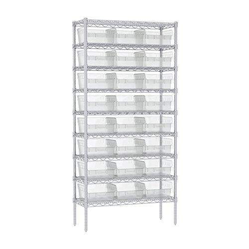 Akro-Mils 9 Shelves Wire Shelving Bin Rack Storage unit with 24 Shelfmax Bins 14Dx36Wx74H Chrome Clear