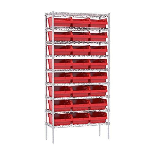 Akro-Mils 9 Shelves Wire Shelving Bin Rack Storage unit with 24 Shelfmax Bins 14Dx36Wx74H Chrome Red