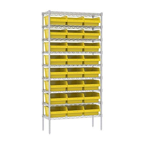 Akro-Mils 9 Shelves Wire Shelving Bin Rack Storage unit with 24 Shelfmax Bins 14Dx36Wx74H Chrome Yellow