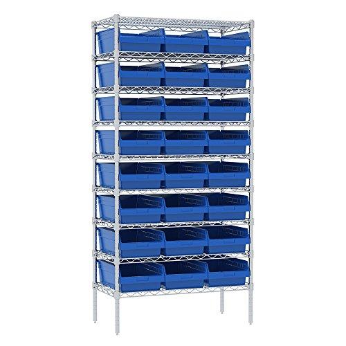 Akro-Mils 9 Shelves Wire Shelving Bin Rack Storage unit with 24 Shelfmax Bins 18Dx36Wx74H Chrome Blue
