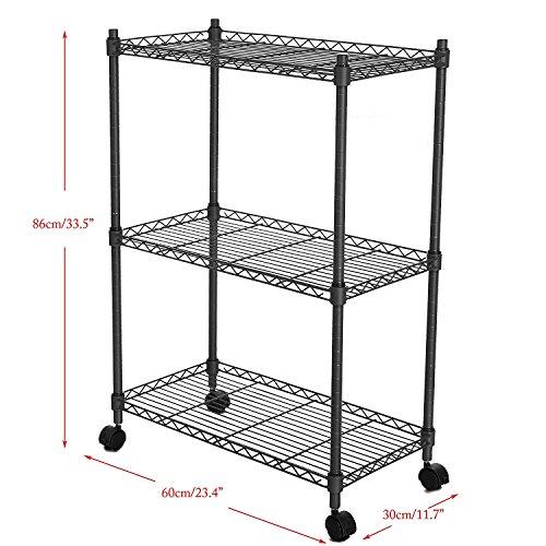 Corgy Metal Wire Storage Shelving Unit 3-Tier Kitchen Storage Cart with Lockable Wheels BlackUS STOCK