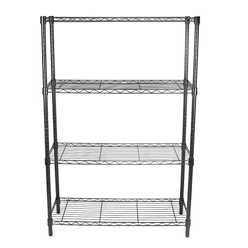 Mallofusa 4 Tier Shelf Rack Metal Wire Storage Shelving Unit Rack Utility Organization Home Kitchen GarageBlack