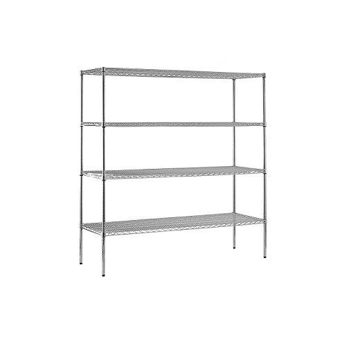 Sandusky Heavy Duty NSF Certified Chrome 4-Shelf Wire Storage Shelving - 74H x 72W x 24D