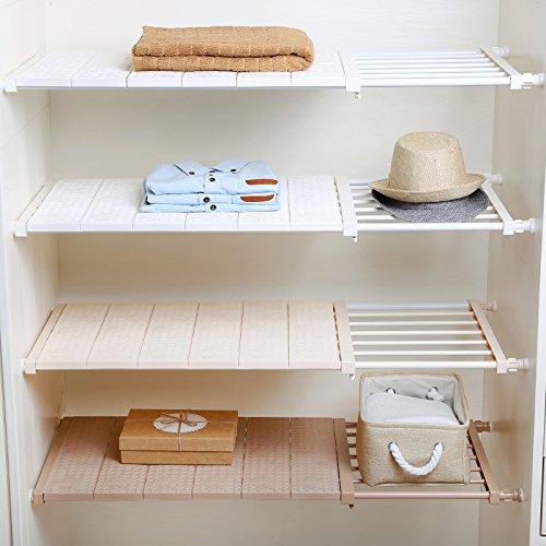 APSOONSELL Adjustable Storage Rack Tension Shelf Closet Expandable Closet Shelf Rod for Wardrobe Kitchen Bookcase