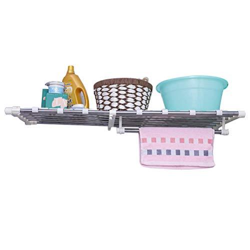 BAOYOUNI Expandable Closet Tension Shelf Rods Adjustable Storage Rack Shelves Organizer Divider Clothes Hanger Holder for Kitchen Cupboard Wardrobe Bathroom Bookcase Compartment Ivory