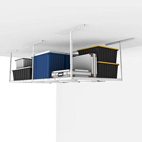 FLEXIMOUNTS GR48 4x8 Overhead Garage Adjustable Storage Rack Heavy Duty 96 Length x 48 Width x 225-40 Ceiling Dropdown 4 x 8 ft White