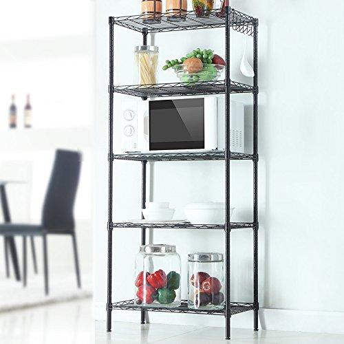 Heavy Duty 5 Tiers Layer 59x21x11 Wire Shelving Rack Adjustable Shelf Storage(Black 5 Layers)