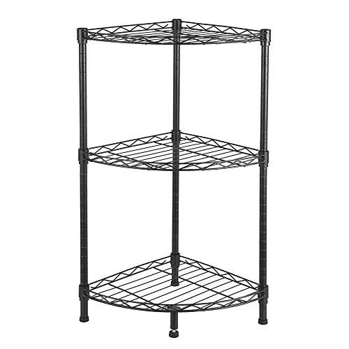 Lovinland 3-Tier Corner Wire Shelving Unit Adjustable Storage Rack Metal Shelf Organizer Shelf for Kitchen Shop Living Room