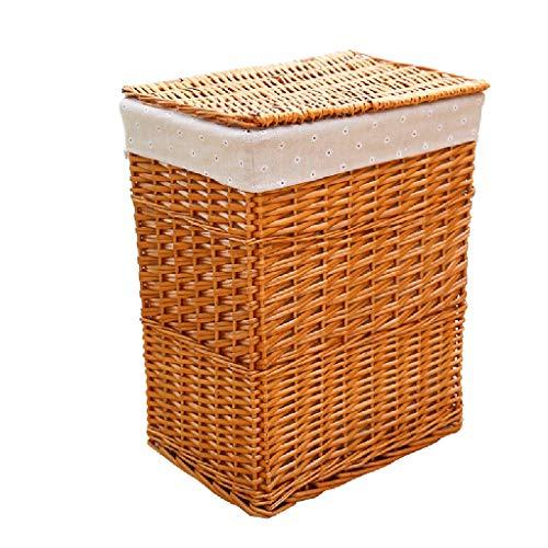 HU Wicker Square Storage Basket with Lid Dirty Clothes Storage Basket Bedroom Living Room Storage Basket Color  Wood Color Size  Large