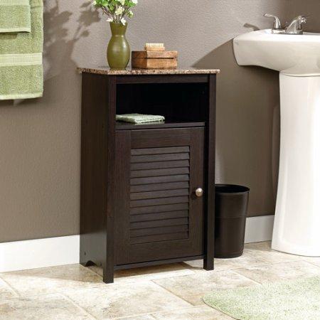 Rectangle Wood Floor Cabinet Reversible Door Open Shelf Storage Space Cinnamon Cherry Finish Heat and Stain Resistant Ideal for Bathroom Indoor Furniture BONUS E-book