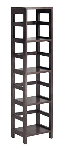Winsome Leo Storage Open Shelf 5-Tier 4-Section Tall Espresso