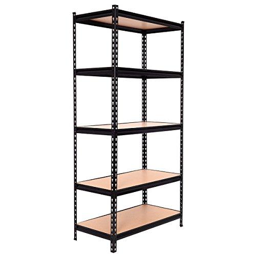 Tangkula 725 5-Shelf Heavy Duty Shelving Unit Garage Shelf Storage Rack Adjustable Shelves Metal