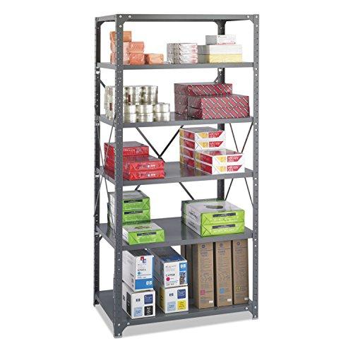 Safco 6270 Commercial Steel Shelving Unit Six-Shelf 36w x 24d x 75h Dark Gray