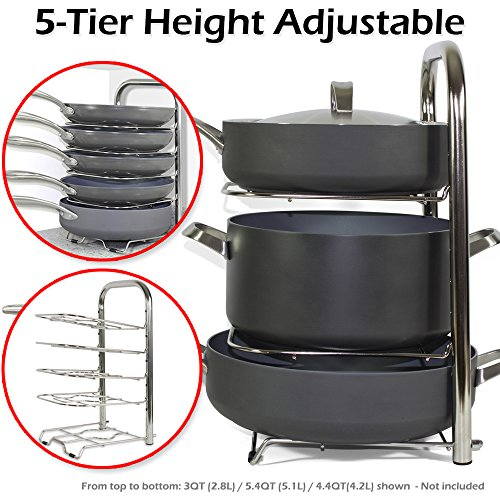 BTH Height Adjustable Pot Pan Organizer Rack 5-Tier 10 11 12 Inch Heavy Duty Kitchenware Cookware Pot Rack Holder Kitchen Cabinet Countertop Stainless Steel Storage Solution