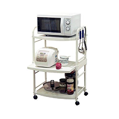 Baoyouni 3 Shelf Shelving Unit on WheelsMovable Plastic Storage Rack for OrganizationFree Standing Units with 6 Hooks for Flatware