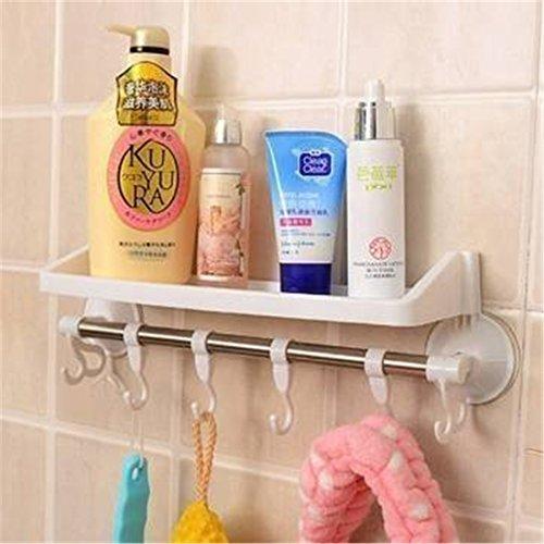 Pinovk Bathroom Plastic Storage Rack Sundries Stand Corner Shelf With Hooks And Suckers Random Color