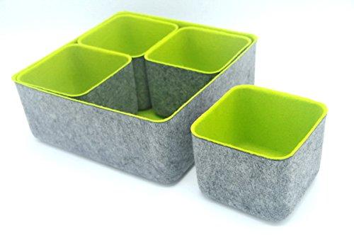 Welaxy Designed Felt Office Storage Bins Drawer Organizers dividers Boxes Shelf bin Pack of 5 Green