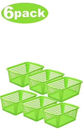 YBM HOME Plastic Perforated Storage Basket Bin Office Drawer Shelf Desktop Countertop Tray Organizer 32-1184 6 Green