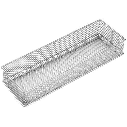 YBM HOME Silver Mesh Drawer Cabinet and or Shelf Organizer Bins School Supply Holder Office Desktop Organizer Basket 1588 1 4x12x2 inch