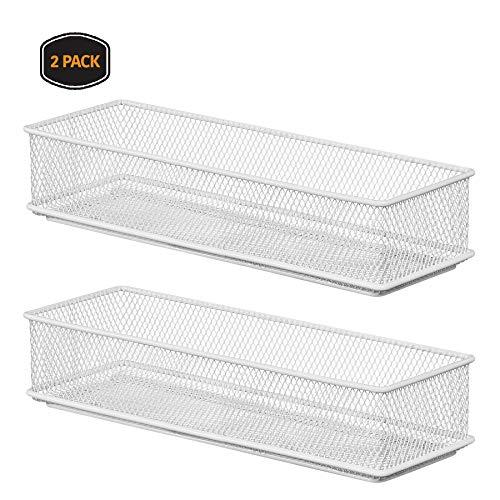 YBM HOME White Mesh Drawer Cabinet and or Shelf Organizer Bins School Supply Holder Office Desktop Organizer Basket 2523-2 2 3x9x2 Inch