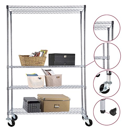 4 Tier 82 inch X48 inch X18 inch Adjustable Wire Shelving Rack Steel Shelf Chrome