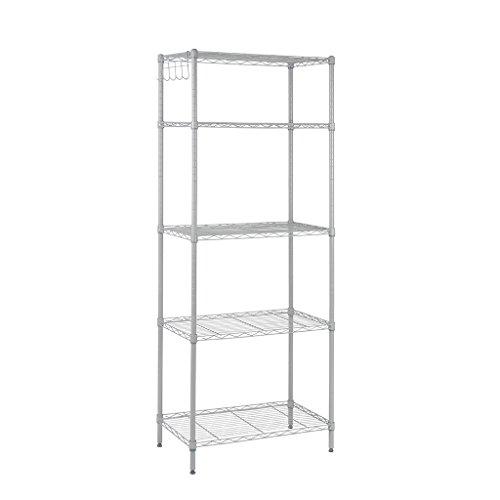 Floureon 5-Tier Classic Wire Storage Rack Organizer Kitchen Shelving Unit Silver Grey