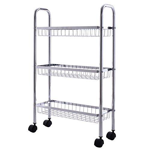Giantex 3 Tier Metal Storage Rack Baskets Shelving Home Kitchen Office Garage WWheels