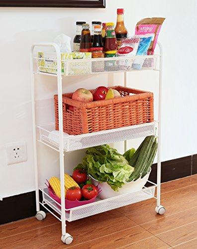 Ikazs Modern Steel White 3-Tier Storage Rack Trolley garden cart