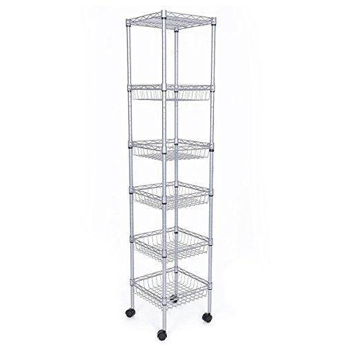 JS HOME 6-Tier Kitchen Storage Rack Sturdy Wire Shelving Silver