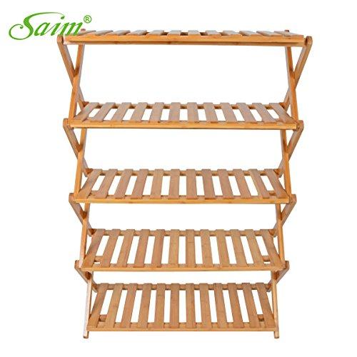 Saim Multifunctional Folding Household Bamboo Rack Entryway Shoe Shelf Storage Organizer5-Tier