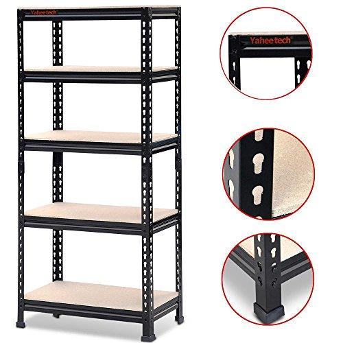 go2buy 5 Tier Storage Rack Heavy Duty Shelf Steel Shelving Unit 27 by 12 by 60 Inch