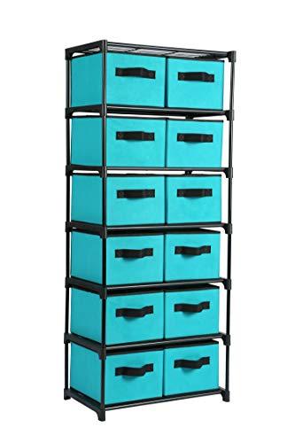 Homebi Drawers Storage Shelf Chest Unit Storage Cabinet Closet Organizer Rack Dresser Storage Towel with Non-Woven Fabric Bins Turquoise