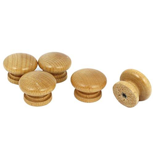 Cabinet Drawer Cupboard Round Shape Wooden Pull Knob Grip 5 Pcs