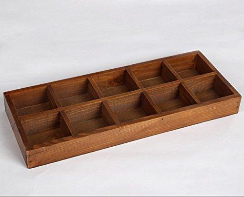 RUIKA Multi-functional Vintage Wooden Storage Divider Box Drawer Desk Organizer Tray for CraftsFlowers Plants Jewelry12-Grid10-Grid8-Grid7-Grid 10-Grid