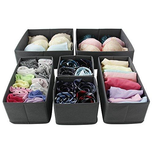 Homyfort Foldable Closet Dresser Drawer Divider Organizer storage cubes bins boxes for clothes underwear bras socks ties scarves 6 pack grey