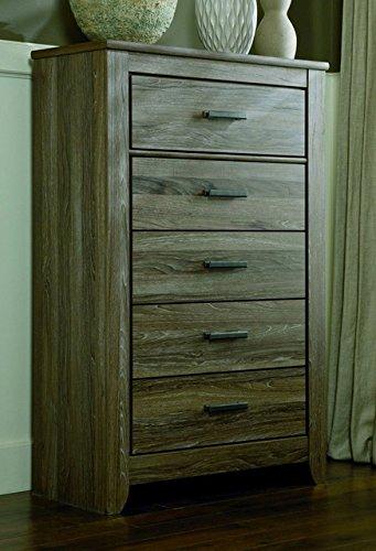 Ashley Furniture Signature Design - Zelen Chest of Drawers - 5 Drawer Dresser - Warm Gray