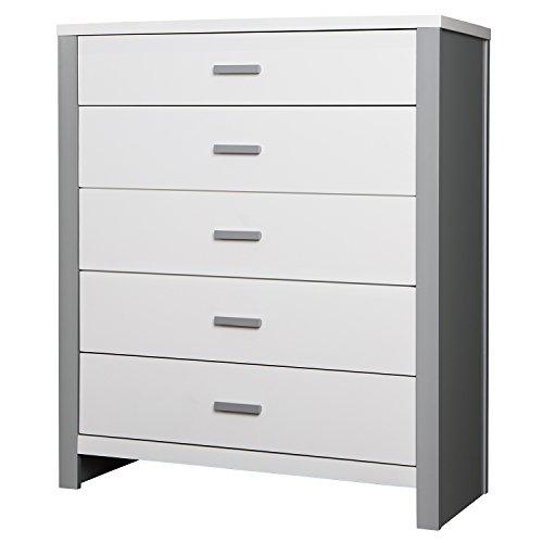 Dream On Me Cafeina 5 Drawer Dresser Grey