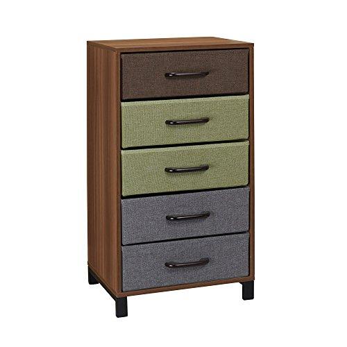 Household Essentials 8035-1 Wooden 5 Drawer Dresser  Storage Night Stand  Honey Maple
